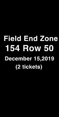 (2) TICKETS New England Patriots Vs Cincinnati Bengals 12/15/19 @ Paul Brown