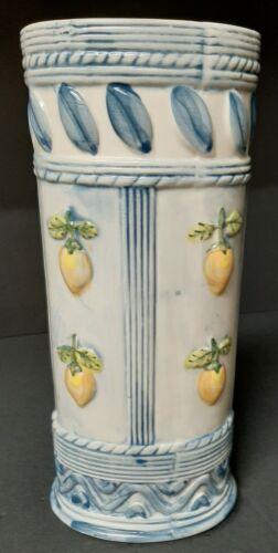 Vintage Ceramic Tall Vase. Lemons with Blue Trim. Italy? Quite Lovely!