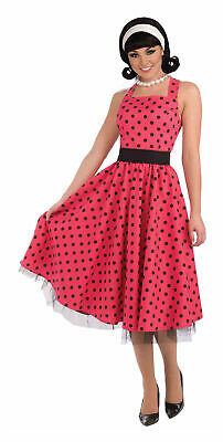 Red Polka Dot Grease Fancy Dress Costume Sandy 1950S Rock And Roll Outfit New