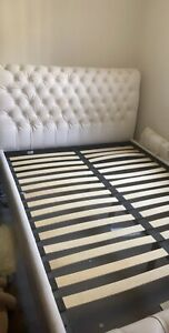 White Genuine Leather Queen Bed Frame