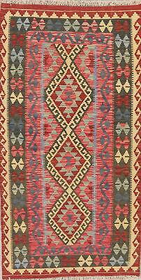 NEW Wool Kilim Oriental Hand-Woven Runner Rug 3x6 Geometric Carpet