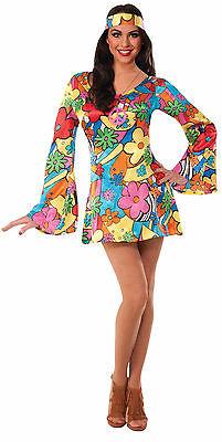 Adult 60s 70s Hippie Groovy Go Go Dress Costume  (Hippie Dress Costume)