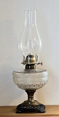 Antique Cast Iron and Brass Clear Pressed Glass Embossed Oil Lamp with Wick