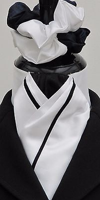 Ready Tied Faux Silk White & Black Riding Stock & Scrunchie - Show Dressage