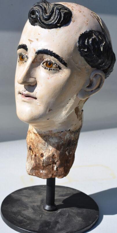 19TH CENTURY SAINT ANTHONY - SPANISH COLONIAL SANTO HEAD