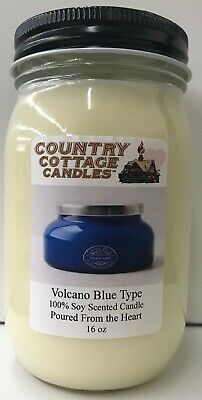 16 oz Hand Poured Soy Candle Volcano Capri Blue (Type).FREE -