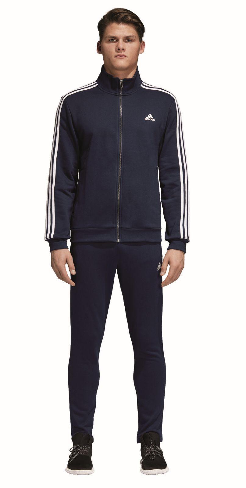 adidas Performance Herren Trainingsanzug Cotton Relax Tracksuit 3S navy blau