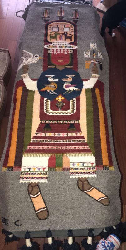 Jose Cotacachi Peru Wool Hand Woven Tapestry / Rug Folk Art South America Euc