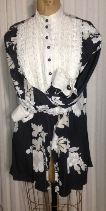 Vtg CHRISTIAN DIOR Linen & Lace Tuxedo Blouse Top Tunic Hand Numbered Tag M B40