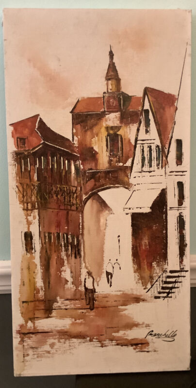 Adriano Marchello Vintage Village Scene Oil Painting On Canvas