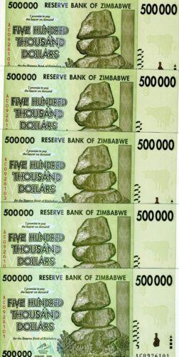 LOT Zimbabwe, 5 x 500,000 (500000) dollars, 2008, P-76, UNC