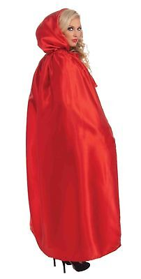 Fancy Masquerade Xmas Red Cape Satin Hooded Cloak Robe Adult Costume Accessory