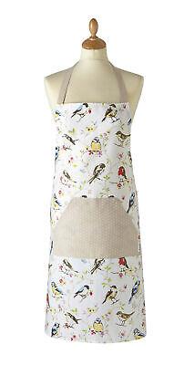 Cooksmart Dawn Chorus Birds Full Apron Cotton Front Pocket Vintage Retro Style