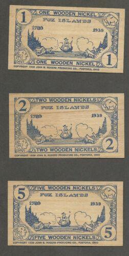 1939 Vinalhaven, Maine 150th Anniversary - Set of 3 Wooden Nickel Flats  sk#234