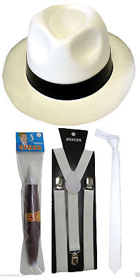GANGSTER PIMP FANCY DRESS BRACES TIE HAT CIGAR 1920s COSTUME ROARING FANCY DRESS](Roaring Twenties Costumes For Men)