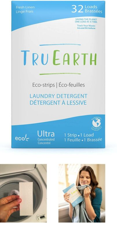 Tru Earth EcoStrips Laundry Detergent Fresh Linen Scent 32 Loads Eco friendly