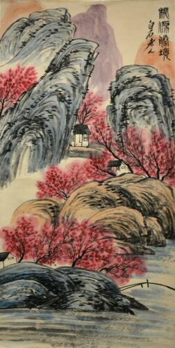 Vintage Chinese Watercolor LANDSCAPE Wall Hanging Scroll Painting - Qi Baishi