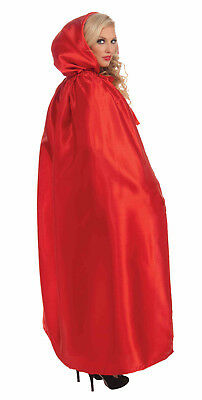 FANCY MASQUERADE RED SATIN HOODED EXTRA LONG CAPE HALLOWEEN COSTUME ACCESSORY