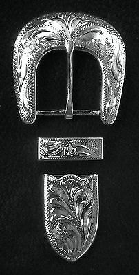 "1"" Hand Engraved Silver Plated Buckle Set - Spur Straps Headstall            #5"