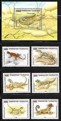 TAJIKISTAN SC 69-75 NH issue of 1995 - REPTILES - Lizards - SET+S/S