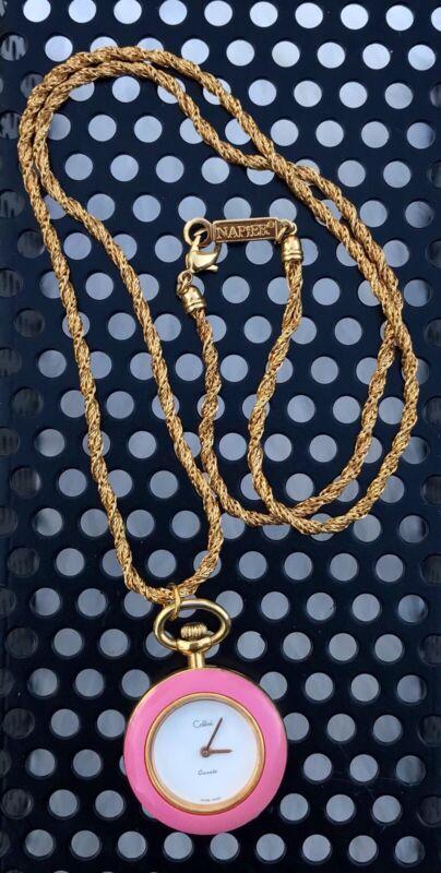 Pocketwatch Necklace Vintage Colbri Enamel Pendant Watch Gold Napier Chain