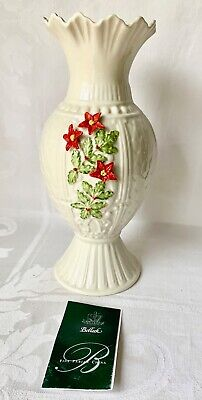 LOVELY BELLEEK LARGE VASE, RED FLOWERS, BERRIES, MILLENNIUM MARK, MINOR DAMAGE