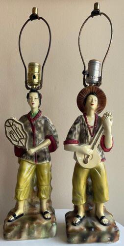 Pair Vintage Asian Chalkware Plaster Lamps Mid Century Modern Kitsch 50s 60s