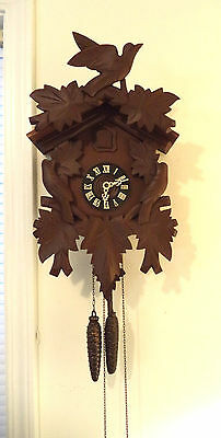 Vintage German Black Forest 30 Hour Cuckoo Clock-Hand Carved Working  1950's!