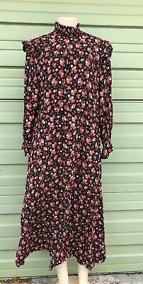 NWT ZARA BLACK FLORAL PRINTED LONG DRESS HIGH NECK RUFFLE SIZE L $69 #1577