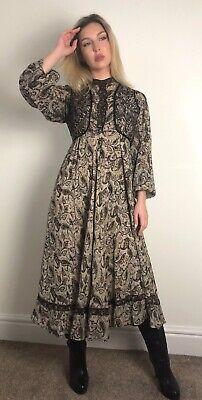 Vintage Indian Interlinks Cotton Gauze Blockprint Gold Dress Phool Mayur