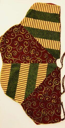 """Christmas Tree Skirt Modern 50"""" Burgundy Green Gold 3 Ties Corded Treeskirt"""
