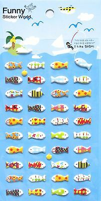 Funny Sticker World Oh! Sushi-Day Puffy (Fish) Sticker Sheet~KAWAII!!