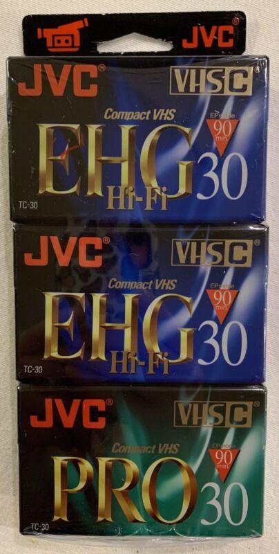 NEW JVC EHG 30 HiFi 90min (2) and JVC PRO 30 90min (1) Compact VHS-C Tapes