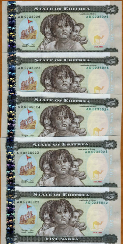 LOT, Eritrea, 5 x 5 Nakfa, 1997,  FIRST CURRENCY, P-2, UNC