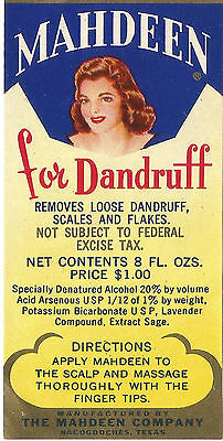 Label-MAHDEEN for dandruff,Nacogdoches,TX,hair,Original US 1918-1965. melaneybuy for sale  Front Royal