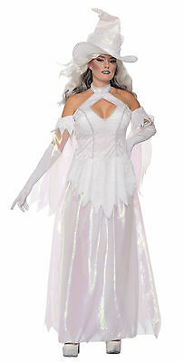 Womens Crystal Magic White Witch Costume Mystical Spirit Spooky Size Standard