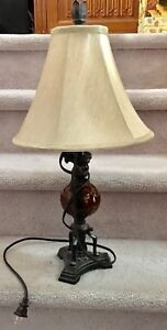 Bombay Co. pretty cast iron look w/ art glass sphere table lamp
