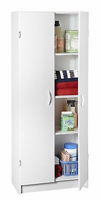 White Kitchen Pantry Storage Cabinet Wood Organizer 2 Doors