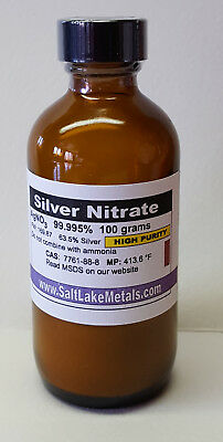 Silver Nitrate High Purity - 100 Grams 99.99 Pure Freshly Made