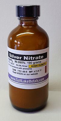 Silvernitrate 100grams 67.27 Certofanalysis Highpurity99.995 Saltlakemetals.com