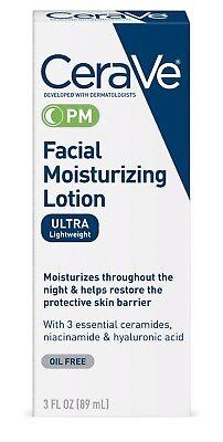 CeraVe PM Moisturizing Night Lotion Face Moisturizer 3 Fl. O