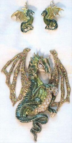 RARE Kirks Folly Halloween Lg Draco Green Dragon earrings pin brooch set