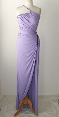 VERSACE Purple Crystal Jewel Sheer Panel Dress Gown 40 4