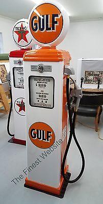 NEW GULF REPRODUCTION GAS PUMP - ANTIQUE OIL REPLICA (WHITE & ORANGE) FREE SHIP*