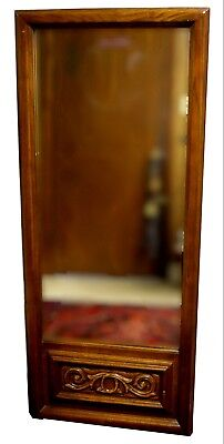 Vintage Carved Oak Panel Wall Mirror for sale  Athens