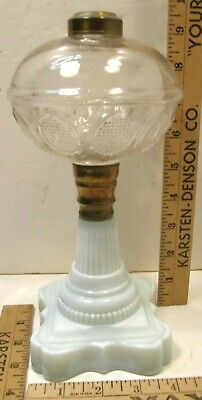 "9"" ANTIQUE EAPG WHALE OIL TABLE LAMP OPAQUE WHITE GLASS BASE SANDWICH"