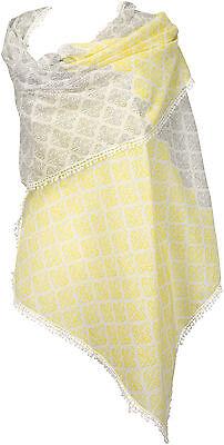 Schal  Lemon Gelb 100% Baumwolle Häkelborte scarf yellow cotton summer Foulard   ()