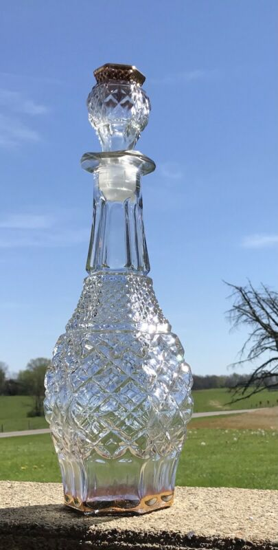 Vintage Clear Glass liquor Decanter bottle with stopper 14 1/2""