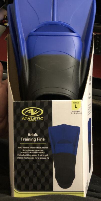 Athletics Works Adult Training Fins SIZE LARGE Men/women Diving/Swimming,Blue