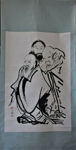 Vintage Japanese ink on paper painting scroll fine painted three rotating mad